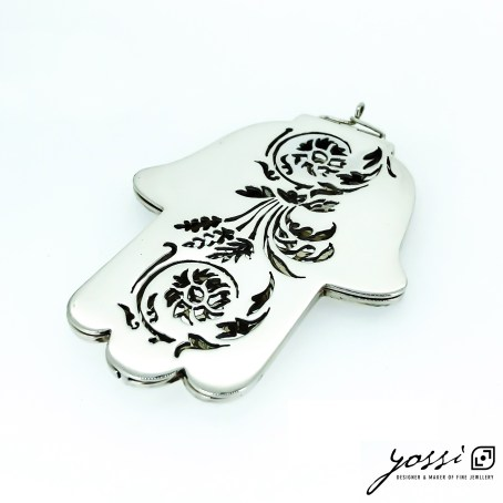 Handmade Sterling Silver Hamsa Amulet | Precious Object with Botanical Floral Motifs 1