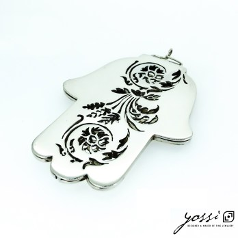Handmade Sterling Silver Hamsa Amulet | Precious Object with Botanical Floral Motifs
