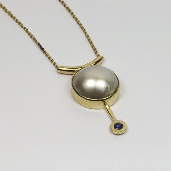 Glistening Pearl & Sapphire Pendant