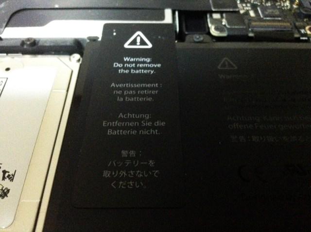 Macbook Proバッテリー注意