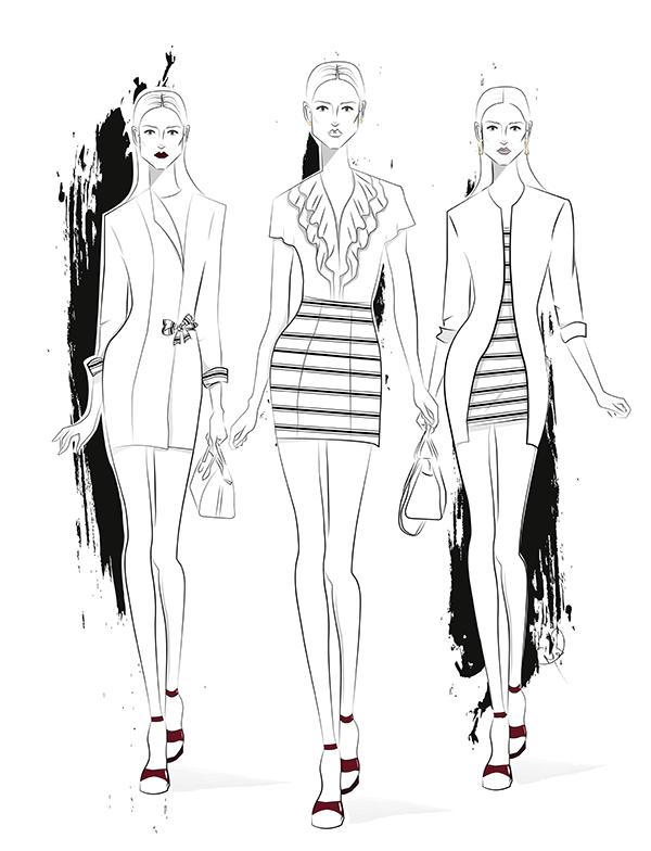 Fashion Illustration von Outfits mit Streifen