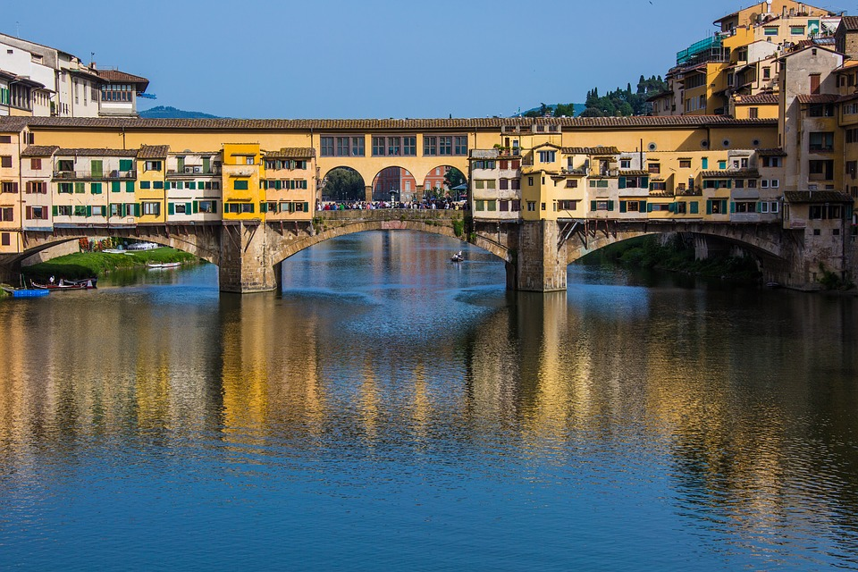 The Ponte Vecchio bridge over the Arno River, in Florence, Italy,