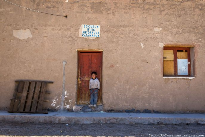 Village boy in front of Antofalla's only school