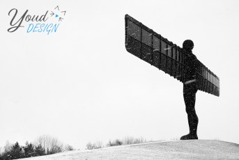 Angel of the North in the snow