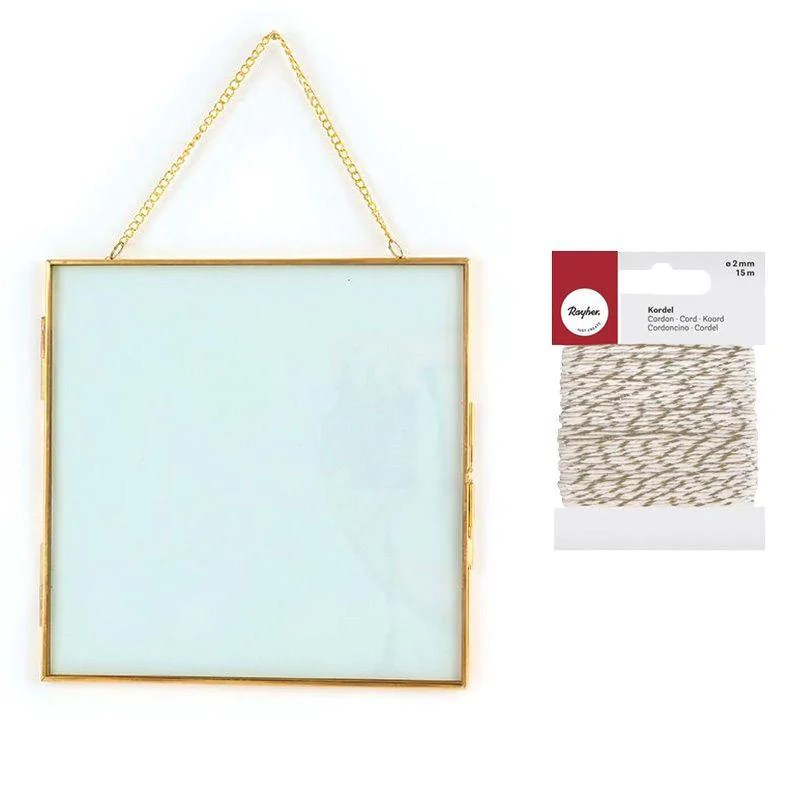 cadre verre vintage carre avec chaine 20 x 20 cm ficelle doree blanche