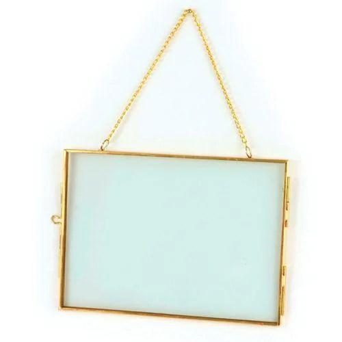 cadre en verre vintage rectangle avec chaine metallique 18 x 13 cm