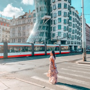 exterior of dancing house prague
