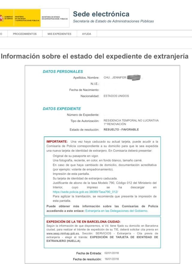 how to check visa status spain application