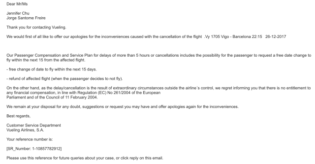 Official Vueling Cancellation Statement