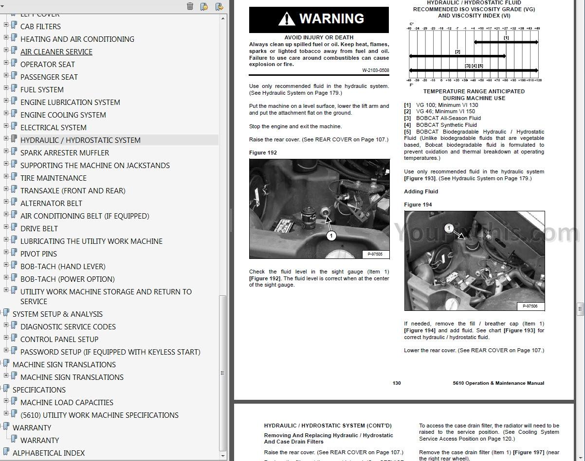Bobcat TOOLCAT 5600 Operators and Maintenance Manuals