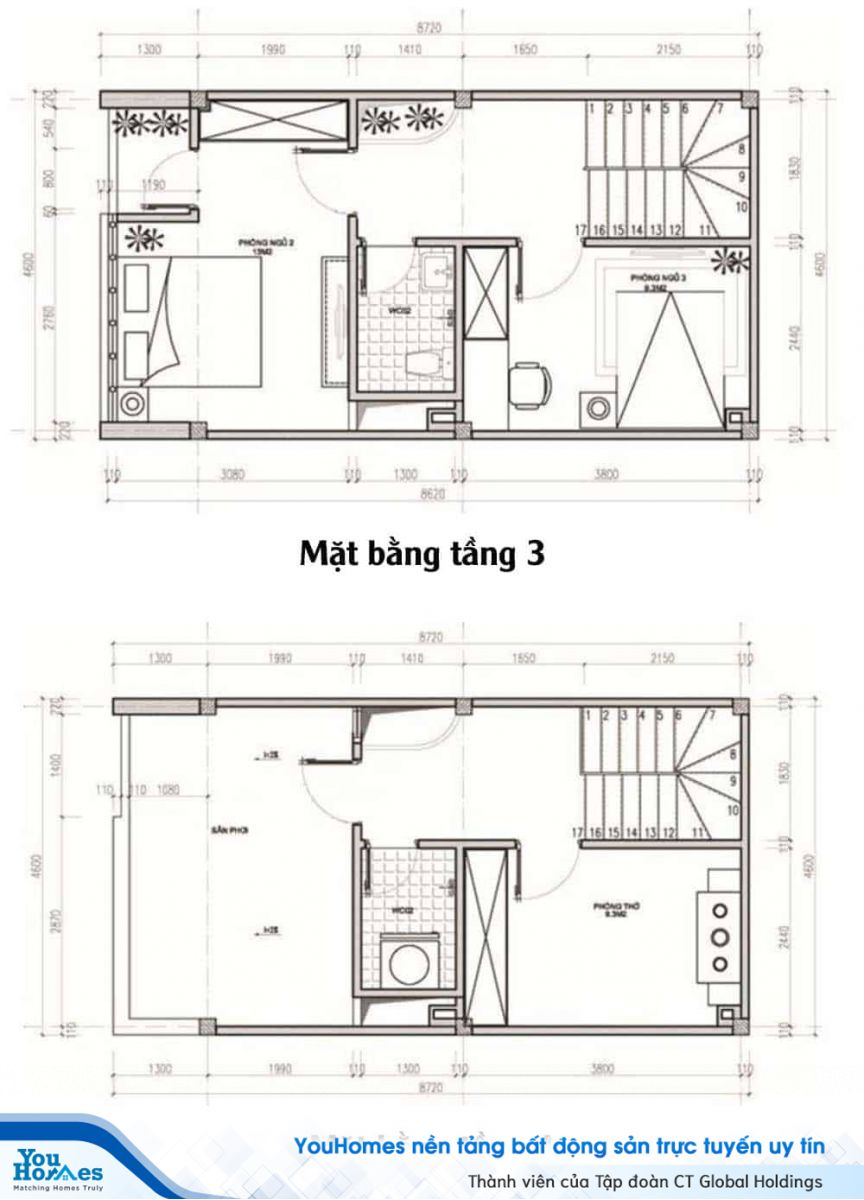 Thiết kế mặt bằng công năng nhà 40 m2 - Tầng 3 và tầng 4.