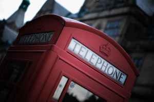 Top of London England phone booth.