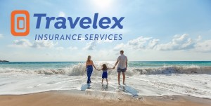 Travelex Banner of a family of three, mom, dad and little girl all holding hands on a beach.