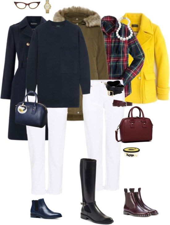 Ensemble: Simple White Jeans in Winter