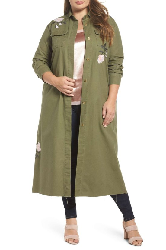 Rachel by Rachel Roy Embroidered Army Duster