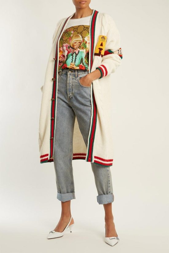GUCCI Tiger Head-embroidered Straight-leg Jeans
