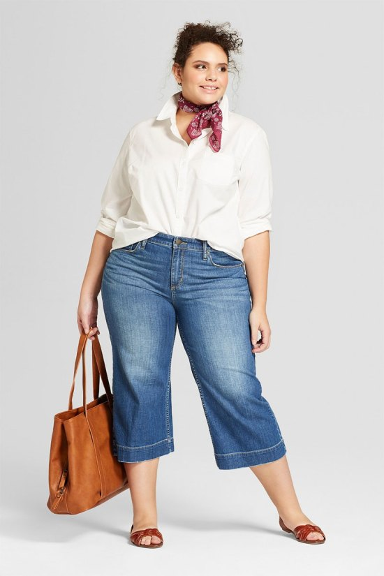 Universal Thread Plus Size Wide Leg Crop Jeans
