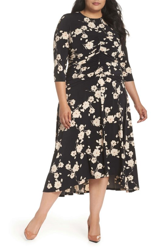 Maggy London Ruched Floral Midi Dress