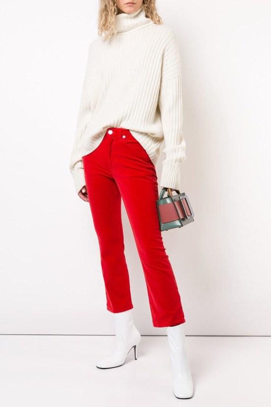 Redone Velvet Kick Flare Cropped Trousers