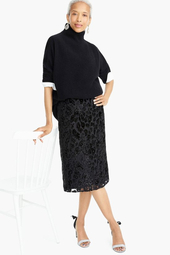 J.Crew Slip Skirt in Burnout Velvet Leopard