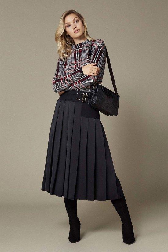 Karen Millen Waist Emphasis Pleated Skirt
