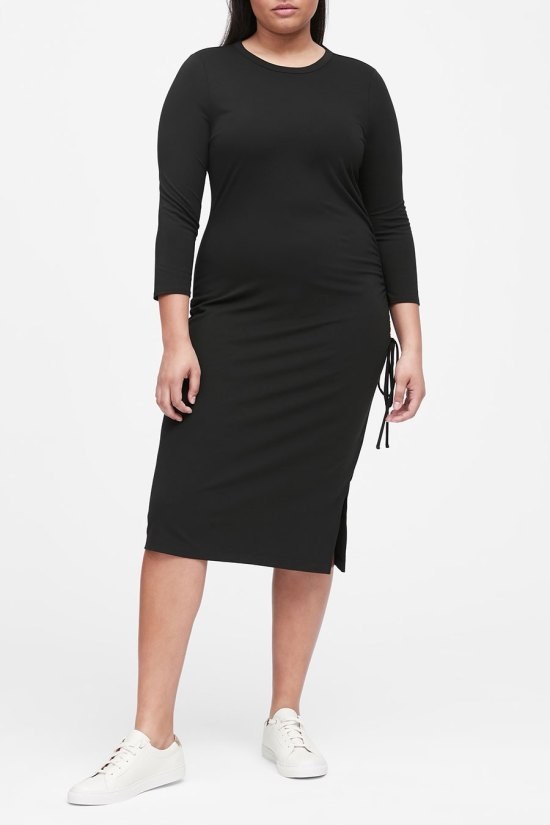 Banana Republic Soft Ponte-Ruched-T-Shirt Dress