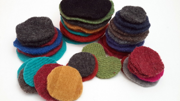 upcycled sweater circles