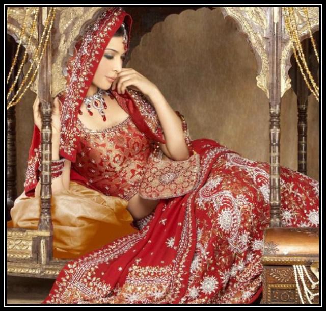 heavy red bridal lehanga