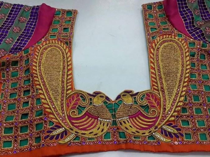 cutwork blouse design