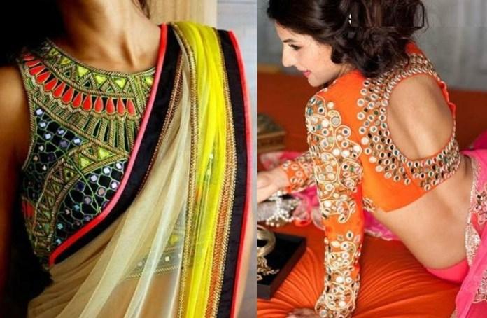 latest mirror work blouse design