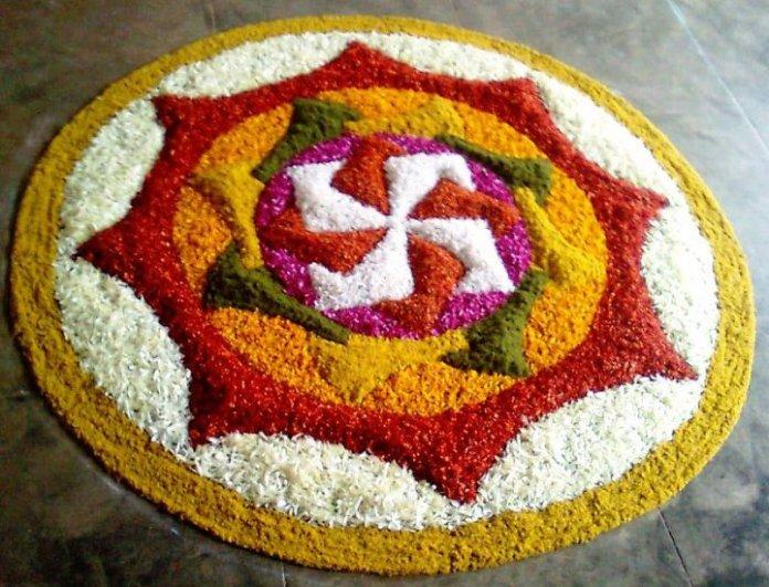 flowers rangoli for navratri