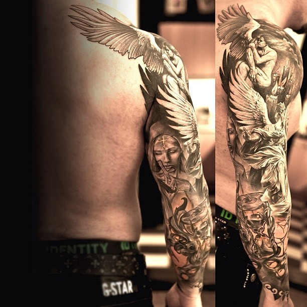 Full Hand Shoulder Tattoo Design For Men