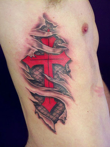 Cross Rib Tattoo For Men