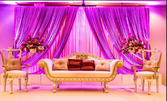 wedding stage decoration with satin draping