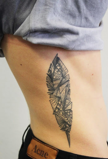 Feather Rib Tattoo For Men
