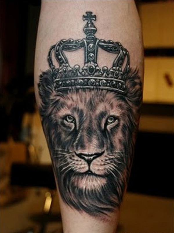 Calf Lion Tattoo Design For Men