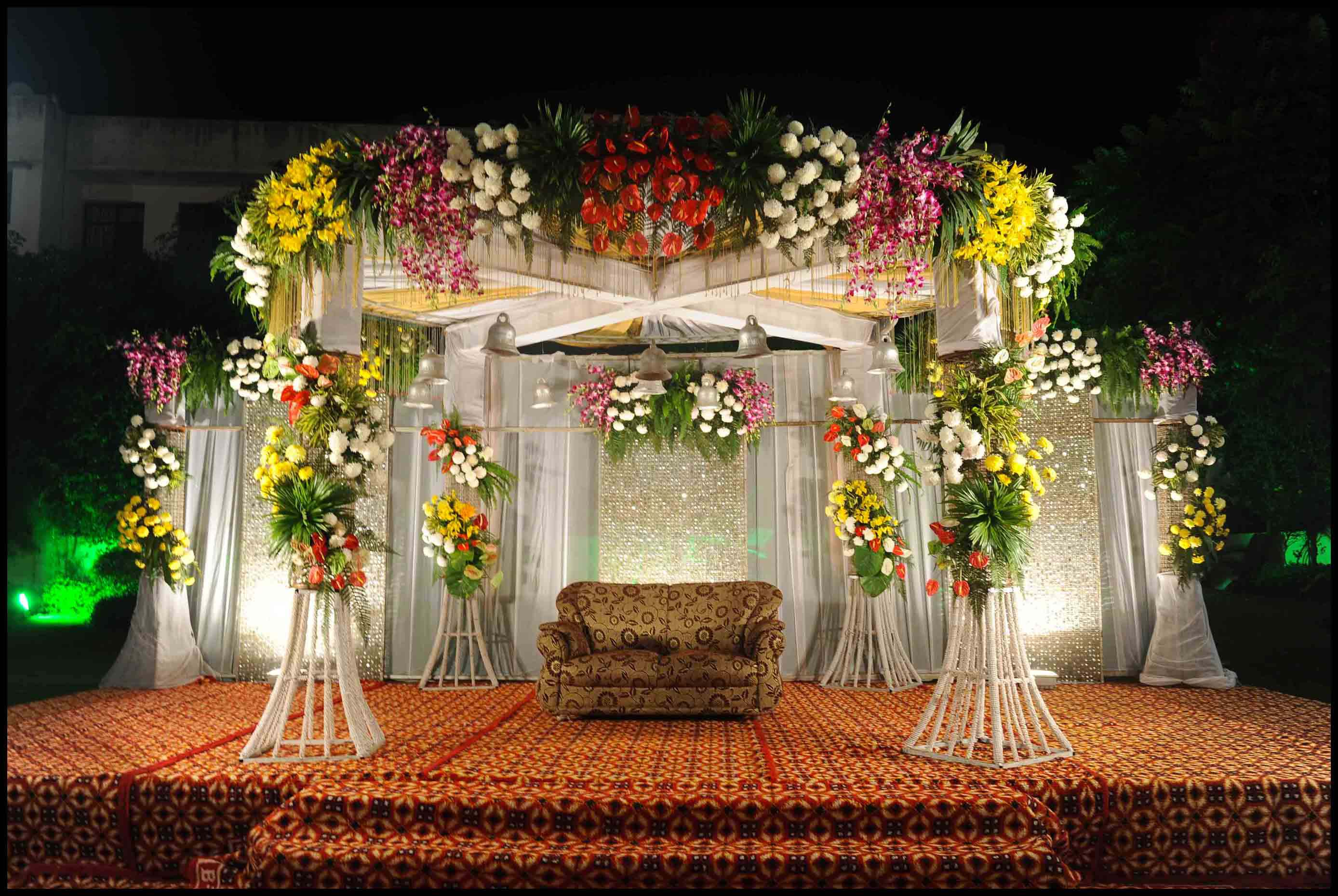 Best wedding stage decoration idea for indian weddings for Wedding decoration images