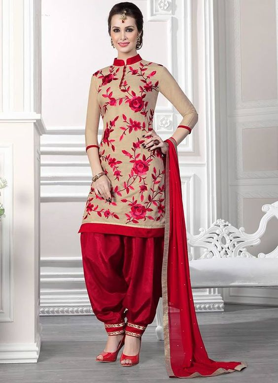 red embroidered salwar suits designs