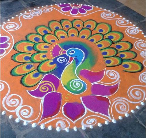 Top 50 Latest Best Beautiful Easy Peacock Rangoli Design