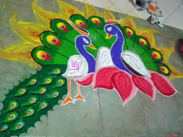 peacock love couple rangoli dseign