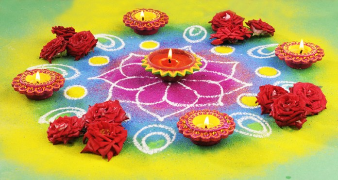 easy rangoli design for deepawali