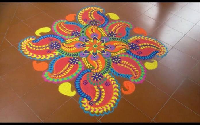 Amazing Rangoli design with flowers