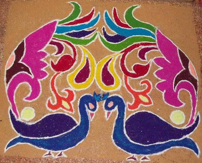 peacock rangoli design for deepawali night