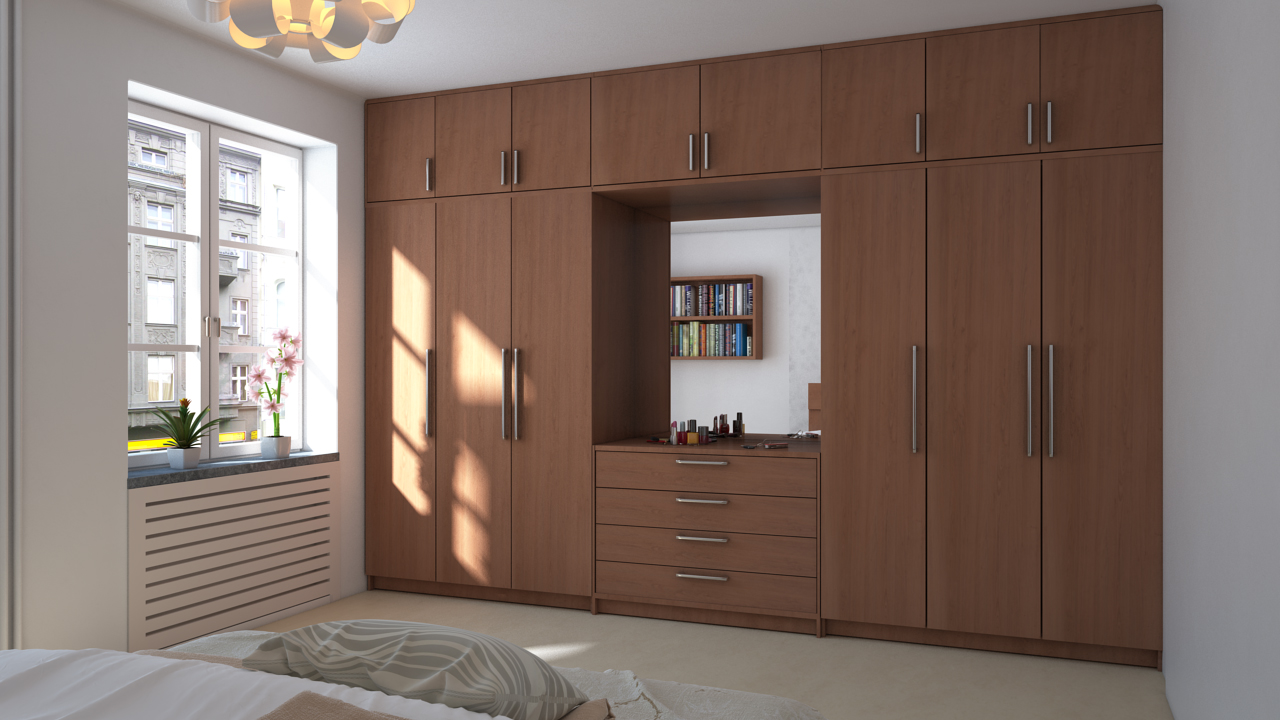 the combination of the mirror doors with sliders and blur glasses on