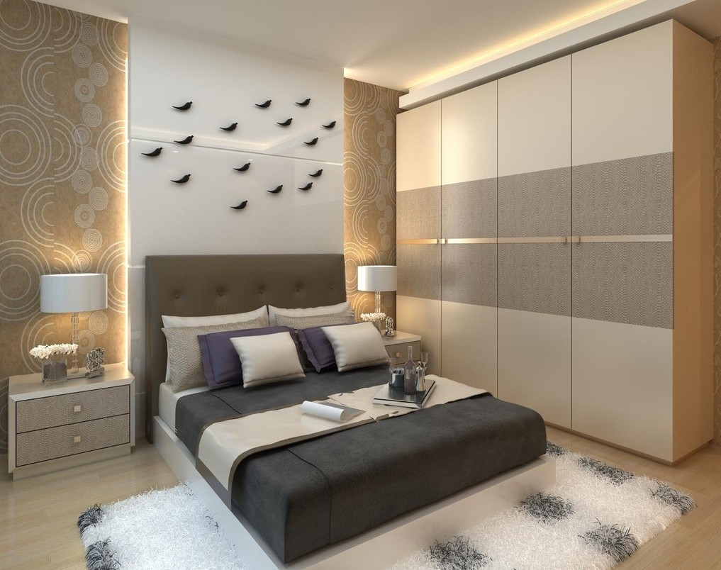 the modern design of the bedroom looks really beautiful and eye catching the design of the bed the wallpaper the wardrobes etc all looking so good to - Designs For Wardrobes In Bedrooms