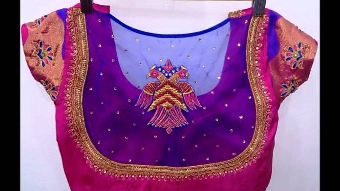 embellished net saree blouse designs
