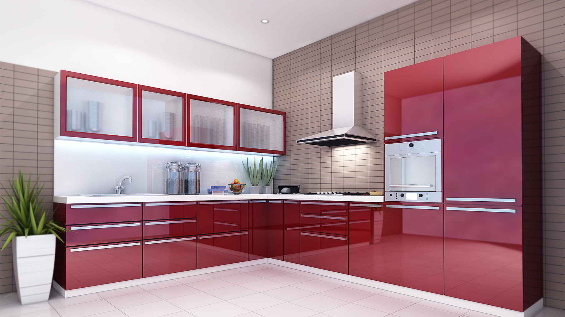 The Red Colored L Shaped Modular Kitchen Design Looks Great Because Of The  Shining Texture The Windows Have. The Drawers And Windows Of The Kitchen  Are ... Part 93