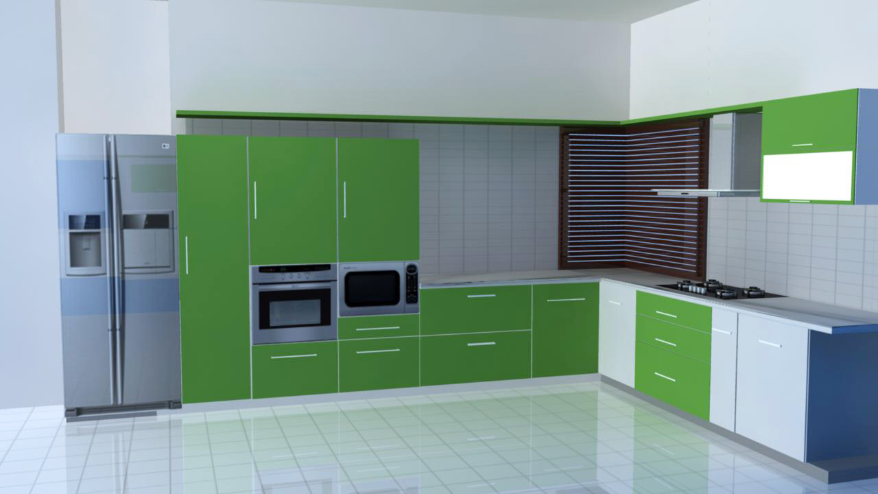 Good The Colorful Kitchens Are New Trend These Days.The Green Colored Ply In The  Furniture Looks Really Beautiful.This Is One Of The Most Common Indian  Kitchen ... Part 3