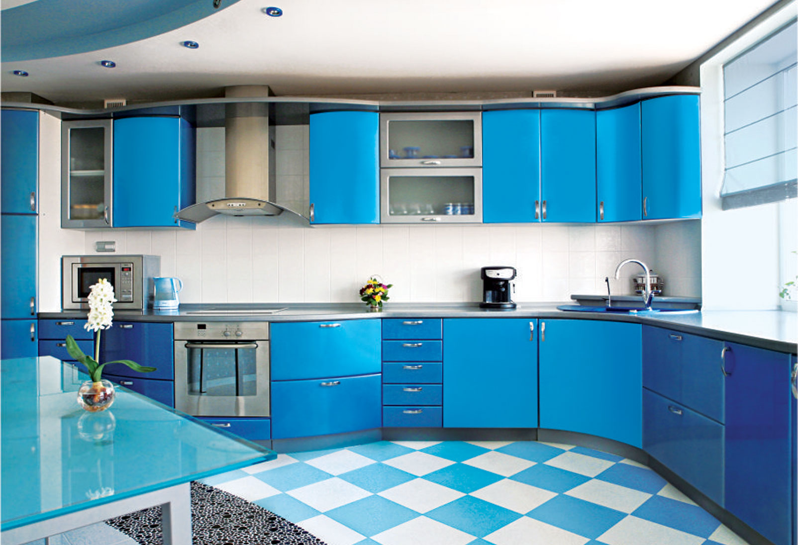 the blue modular kitchen looks cool and trendy for some days but you get bored with it very soon that is why we suggest to choose colorful kitchens only