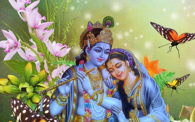 Lord Krishna Playing Flute Radha Love Beautiful Desktop HD Wallpapers